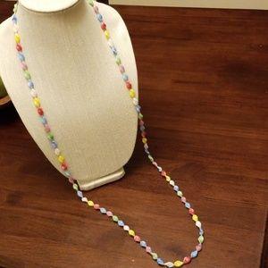Vtg Retro Boho Long Glass Necklace